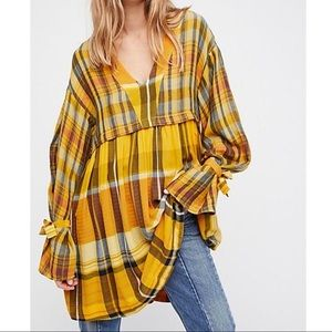 Free People Plaid Tunic Dress Sz S EUC